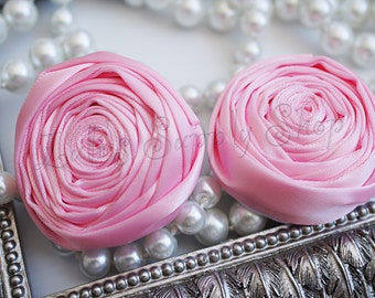 """2"""" Large Satin Ribbon Roses - Set of Two - Rolled Rosettes - Light Pink Satin Rolled Rosettes - Large Satin Roses - Light Pink Satin Flowers"""