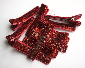 Glitter Red Partially Lined Alligator Clips - Single Prom Hair Clips - Glitter Lined Alligator Hair Clips - Headband Supply