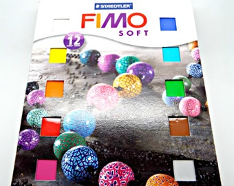 Fimo Clay 12 Pack, Fimo Starter Pack, 12 Polymer Clay Bars, Fimo Soft, Fimo Jewelry, Cane Making, Jewelry Clay, Molding Clay, UK Seller
