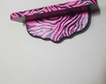 Pink/black zebra print shelf wall decor
