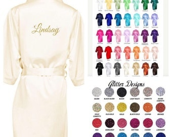 Personalized Robes / Bling Glitter Bridesmaid Robes/ PLUS sizes/ Bridal Party Robes/  Honeymoom / Anniversary Goft - Get Ready Wedding Day