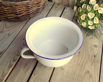 Enamel Chamber Pot - French Enamel Bowl - Vintage Chamber Pot - White and Blue Enamelware - Home Decor - Cottage Chic - Bathroom Decor