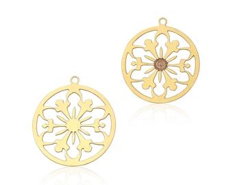 Gold Flower Pendant, 2 Pcs, Gold Filigree Pendant, Flower Mandala Charm, Gold Laser Cut Jewelry, Filigree Flower Pendant, GoldieSupplies