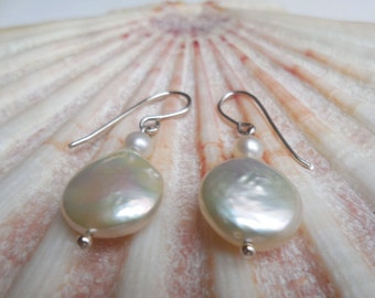 White Coin Pearl and 925 sterling Silver earrings
