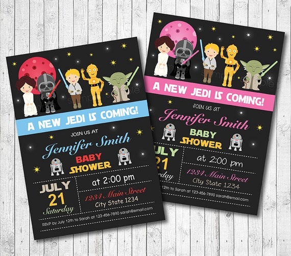 star wars baby shower star wars invitation star wars invite jedi