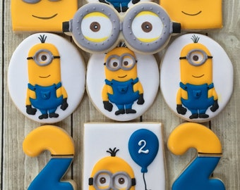 One Dozen Handmade and Decorated Cookies Minions Birthday Party Favors