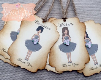 Wedding Party Gift Tags - Personalized Gift bag Tags- Rustic wedding, Bridal Party, Thank you maid of honor