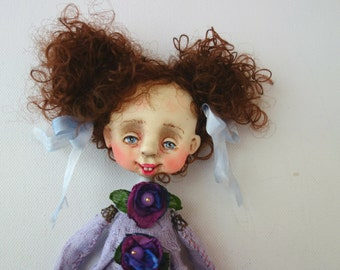 OOAK ART DOLL -brooch