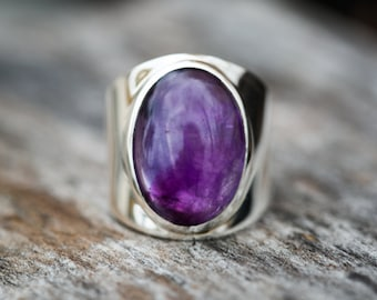 Amethyst Ring size 6 thru 8.5 - Amethyst Cabochon Sterling Silver Ring Size 6-8.5- Amethyst Ring - Amethyst - Purple Amethyst Ring -February
