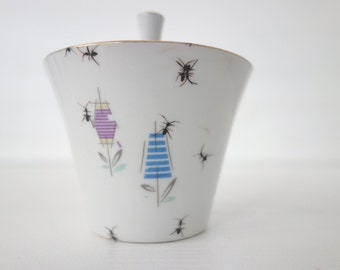 """sugar bowl """"Chitins Gloss"""" vintage porcelain handpainted with ants"""