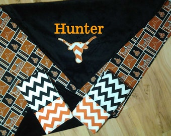 University of Texas Longhorns Baby Blanket Set with bib and burp cloth option of extra set of bib and burp cloth