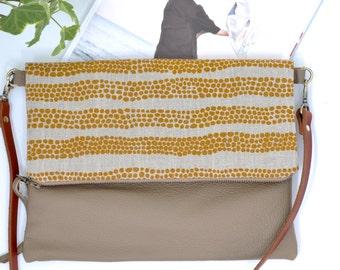 Leather Clutch - Foldover Clutch Purse - Australian print - Handmade in Australia - Sling Bag