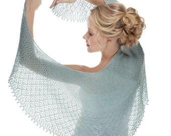 knit shawl, mint lace shawl, summer shawl, silk shawl, hand knit shawl, linen shawl