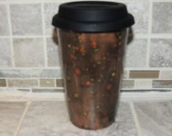Handmade Ceramic Travel Mug, Unique Brown Multi colored speckled glaze. Measures 6 X 3.6. Food and dishwasher safe.