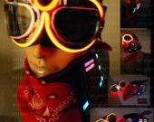 Light Up Goggle + Light Up Bandana Combo for DJ Gigs Rave Party Burning Orange Edm Man Steampunk Light Up Goggle Sunglass Red Mask Costume