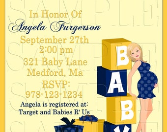 Baby Shower Invitation, Announcements,Mom To Be, Baby Blocks Navy and Yellow, Personalized Invite, DIY Printables, Digital Invite