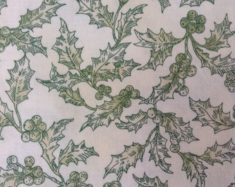 One Half Yard of Fabric Material - Christmas Holly Creme