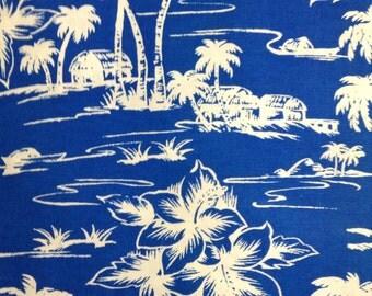 One Half Yard of Fabric Material - Hawaiian Tropical Blue