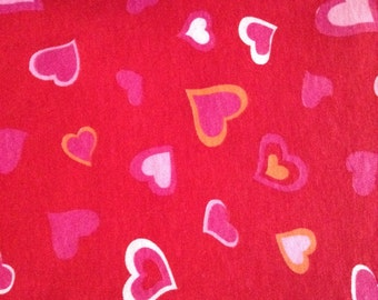 One Half Yard of Fabric -  Modern Hearts on Red COTTON KNIT