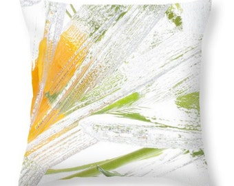 Botanical Yellow White Throw Pillow Cover, Accent White Flowers Pillow, Seat Cushion Yellow Flowers Floral Photo Art, Floral Accent Pillow