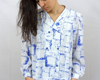 Vintage 80/90s Blouse White Blue Fitted Abstract Geometrical Paint Eccentric M