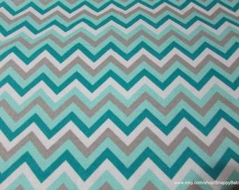 Flannel Fabric - Chevron Aqua Sky - 1 yard - 100% Cotton Flannel