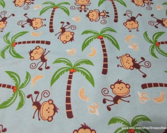 Flannel Fabric - Monkeys and Bananas on Light Blue - 1 yard - 100% Cotton Flannel