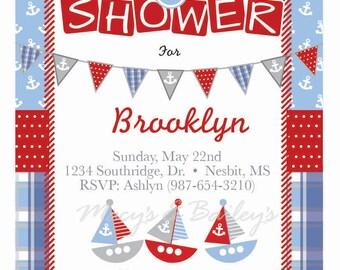 Pastel Nautical Baby Shower Invitation