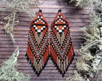Sycamore..Beaded Fringe Earrings