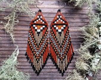 Sycamore..Beaded Fringe Earrings Native American Inspired