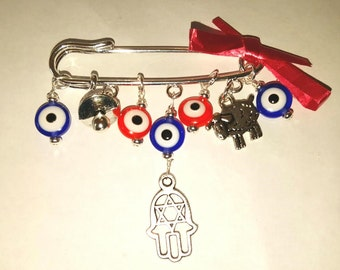 Stroller pin, Evil eye pin, evil eye baby, hamsa pin, evil eye safety pin, evil eye brooch, baby pin, baby shower gift, red evil eye pin