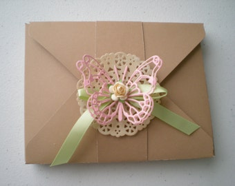 Handmade boxed set of 3 shabby chic all occasion cards