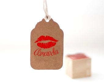 Custom name stamp, Custom stamp, Personalized name stamp, kiss stamp,  Personalized lips stamp, Custom initials stamp 1x1 small stamp, O2