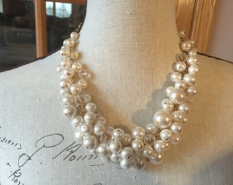 Pearl cluster necklace in Ivory pearls - bridesmaid jewelry - chunky pearl - ivory pearl necklace