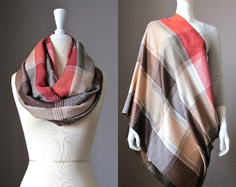 Nursing cover, nursing scarf, infinity scarf, plaid scarf, wide scarf, breastfeeding scarf, rust scarf , brown scarf