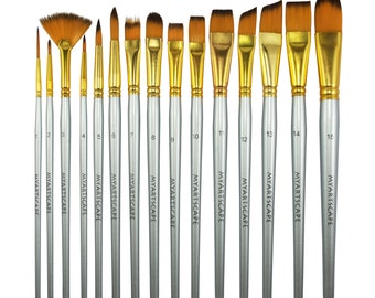 15-PC Paint Brush Set - Short Handled Paintbrushes For Acrylic, Watercolor & Oil Painting by MyArtscape™