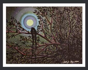 "Moonrise Birds: GICLEE PRINT 18""X24""         O001"