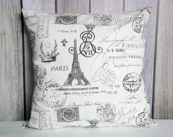 Pillow Cover. Paris Pillow. French Pillow. Grey Pillow. Throw Pillow. Home Decor. Accent Pillow. Decorative Pillow