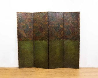 Four Panel Studded Embossed Leather folding Screen with Winged Cherubs & Floral Design