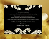 20  Wedding Welcome or Thank-You Notes Gold & Black Baroque design, great for weddings welcome bags, goody bags, schedules, or menus