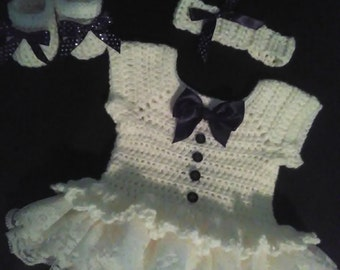 Crochet onsie style set, Off white with lace ruffles