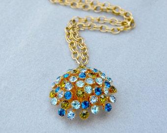 Three Dimensional Rhinestone Pendant Necklace Vintage