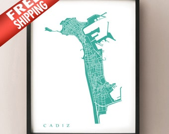 Cadiz Map - Spain Poster