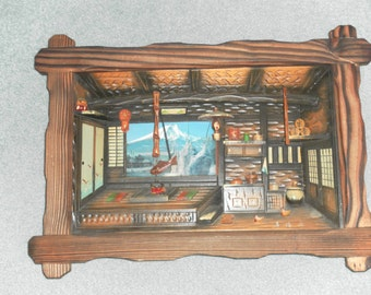 Vintage 60's Japanese Wooden Diorama Shadow Box