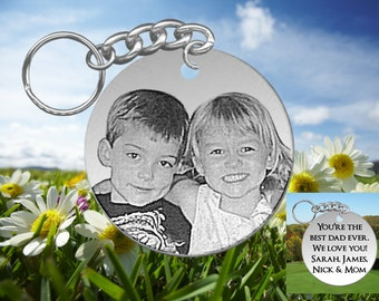 Laser Engraved Picture Keychain with Your Photo, Personalized FREE, Stainless Steel