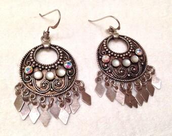 Vintage Sterling Silver Mother of Pearl & Aurora Borealis Crystal Dangle Earrings