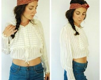SALE 30% OFF Edwardian Blouse - White Cotton Sheer Blouse - Sailor Collar - Size S/M