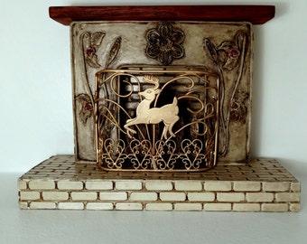 Amazing & Beautiful Dollhouse Fireplace 1:12 Scale Item #17162