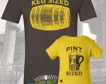 Keg Sized Pint Sized Father and Child T-Shirt and Onesie Set