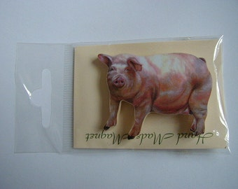 Small White Pig Fridge Magnet